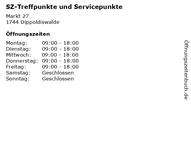 SZ-Treffpunkte und Servicepunkte in Dippoldiswalde: Adresse und Öffnungszeiten