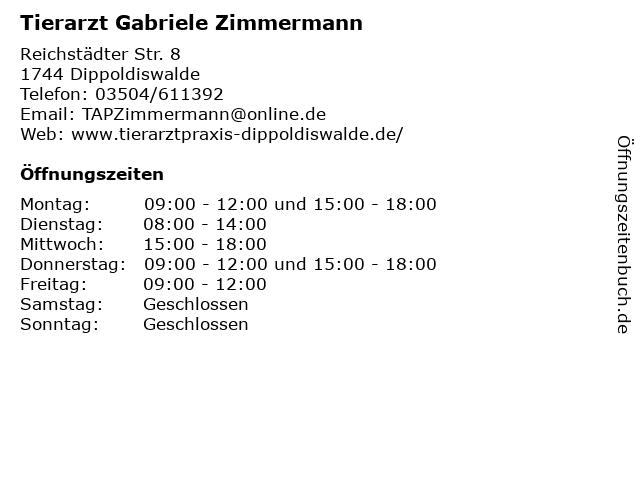 ᐅ Offnungszeiten Tierarzt Gabriele Zimmermann Reichstadter Str