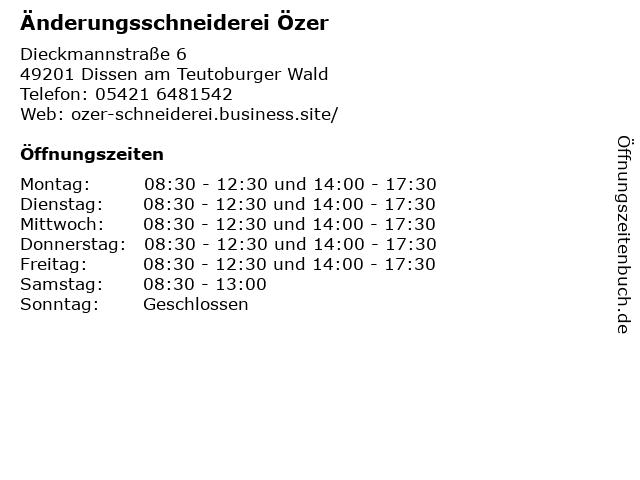 Änderungsschneiderei Özer in Dissen am Teutoburger Wald: Adresse und Öffnungszeiten
