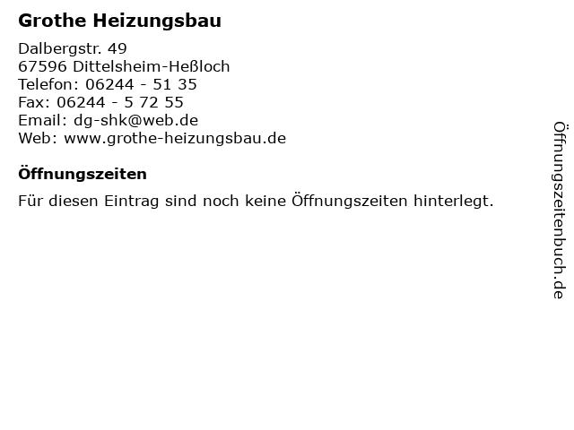Grothe Heizungsbau in Dittelsheim-Heßloch: Adresse und Öffnungszeiten