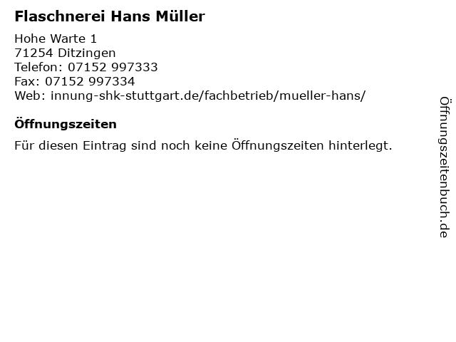 Flaschnerei Hans Müller in Ditzingen: Adresse und Öffnungszeiten
