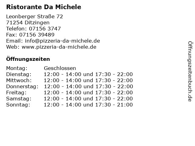 Ristorante Da Michele in Ditzingen: Adresse und Öffnungszeiten