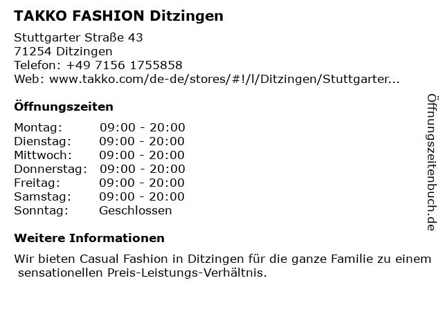 Takko Fashion in Ditzingen: Adresse und Öffnungszeiten