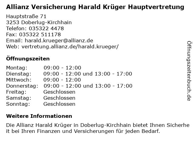 Allianz Harald Krüger in Doberlug: Adresse und Öffnungszeiten