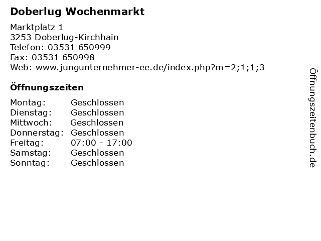 Doberlug Wochenmarkt in Doberlug-Kirchhain: Adresse und Öffnungszeiten