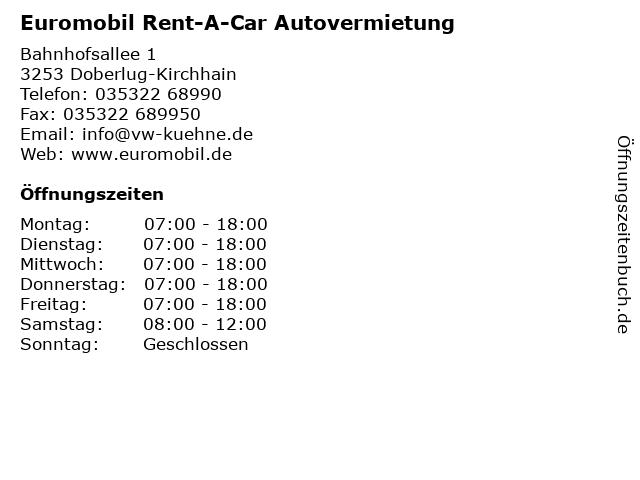 Euromobil Rent-A-Car Autovermietung in Doberlug-Kirchhain: Adresse und Öffnungszeiten