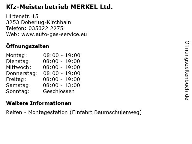 Kfz-Meisterbetrieb MERKEL Ltd. in Doberlug-Kirchhain: Adresse und Öffnungszeiten