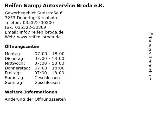 Reifen & Autoservice Broda e.K. in Doberlug-Kirchhain: Adresse und Öffnungszeiten