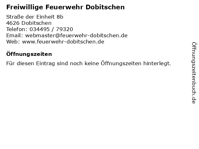Freiwillige Feuerwehr Dobitschen in Dobitschen: Adresse und Öffnungszeiten