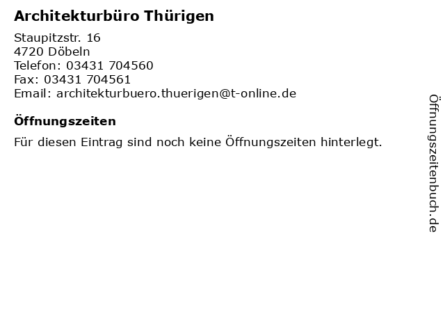 Architekturbüro Thürigen in Döbeln: Adresse und Öffnungszeiten
