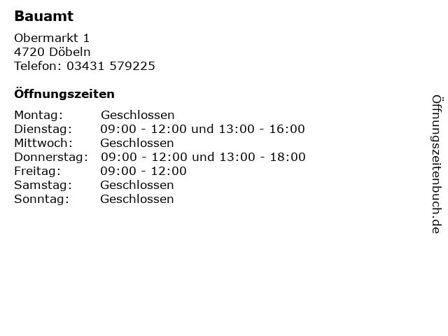 Bauamt in Döbeln: Adresse und Öffnungszeiten