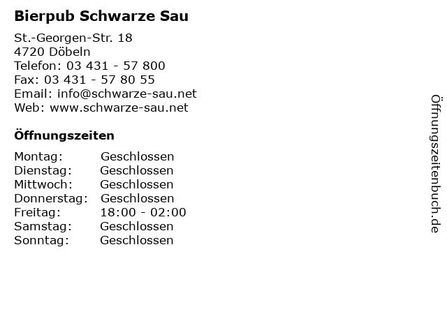 Bierpub Schwarze Sau in Döbeln: Adresse und Öffnungszeiten