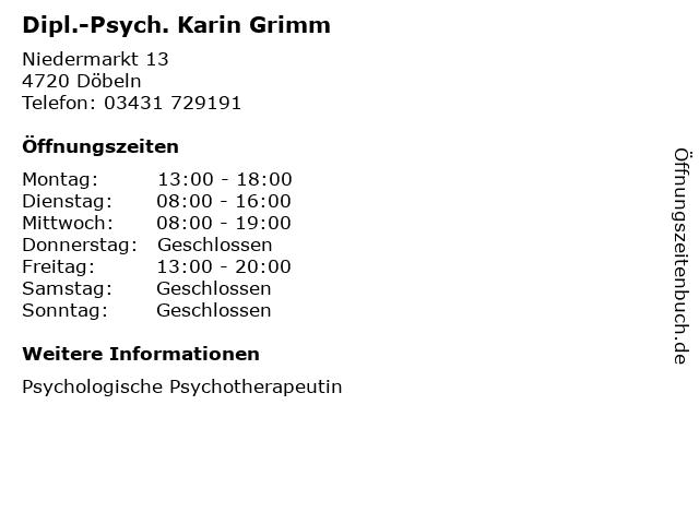 Dipl.-Psych. Karin Grimm in Döbeln: Adresse und Öffnungszeiten