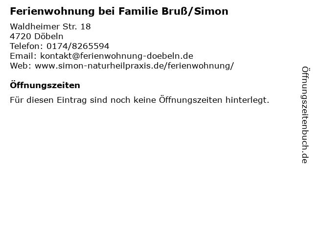 Ferienwohnung bei Familie Bruß/Simon in Döbeln: Adresse und Öffnungszeiten