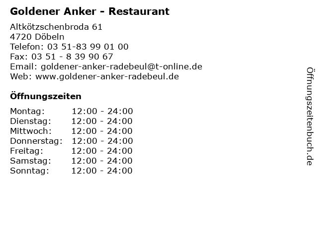 Goldener Anker - Restaurant in Döbeln: Adresse und Öffnungszeiten