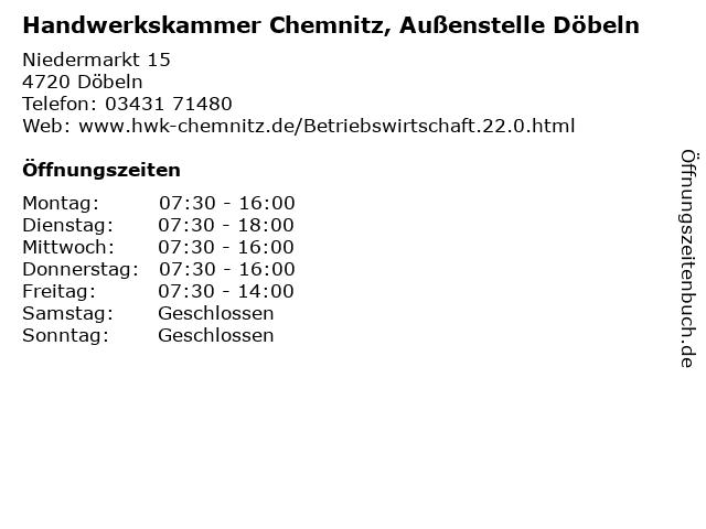 Handwerkskammer Chemnitz, Außenstelle Döbeln in Döbeln: Adresse und Öffnungszeiten