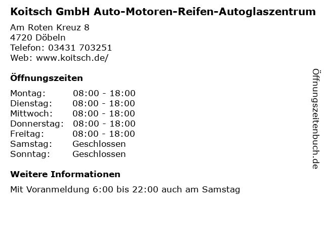 Koitsch GmbH Auto-Motoren-Reifen-Autoglaszentrum in Döbeln: Adresse und Öffnungszeiten