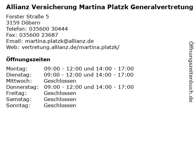 Allianz Generalvertretung Martina Platzk in Döbern: Adresse und Öffnungszeiten