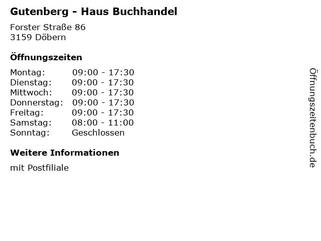 Gutenberg - Haus Buchhandel in Döbern: Adresse und Öffnungszeiten