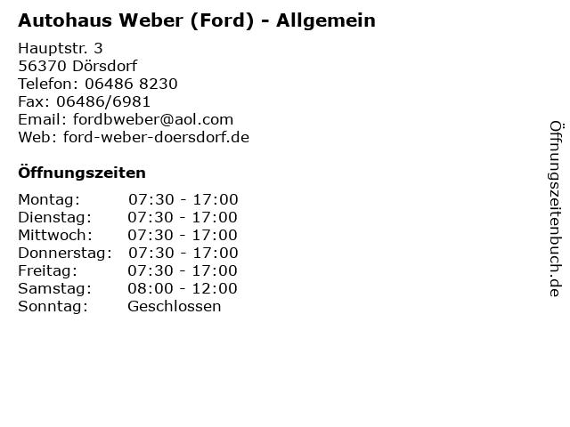 Autohaus Weber (Ford) - Allgemein in Dörsdorf: Adresse und Öffnungszeiten