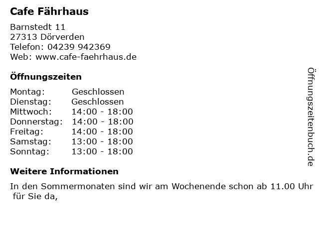Cafe Fährhaus in Dörverden: Adresse und Öffnungszeiten