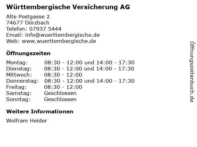 Württembergische Versicherung AG in Dörzbach: Adresse und Öffnungszeiten