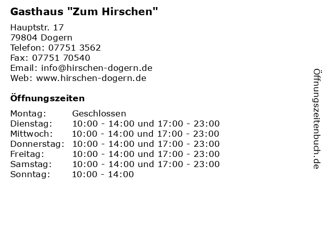 """Gasthaus """"Zum Hirschen"""" in Dogern: Adresse und Öffnungszeiten"""