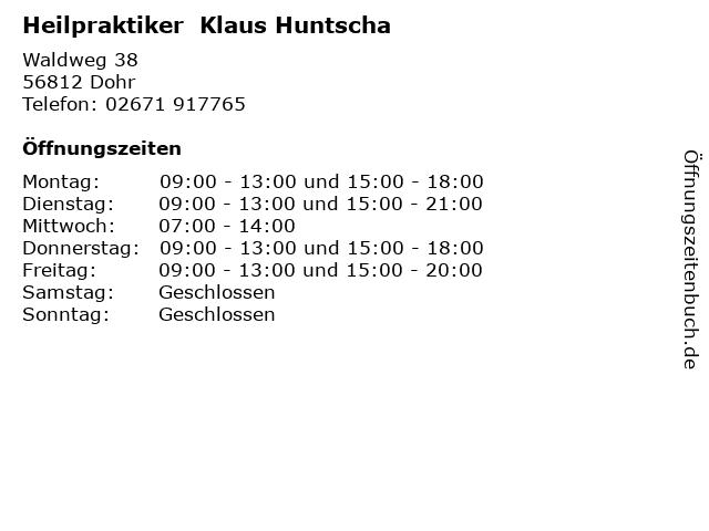 Heilpraktiker  Klaus Huntscha in Dohr: Adresse und Öffnungszeiten