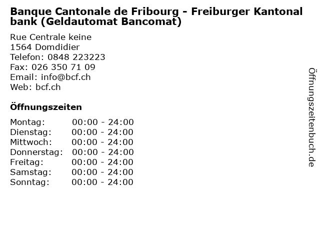 Banque Cantonale de Fribourg - Freiburger Kantonalbank (Geldautomat Bancomat) in Domdidier: Adresse und Öffnungszeiten