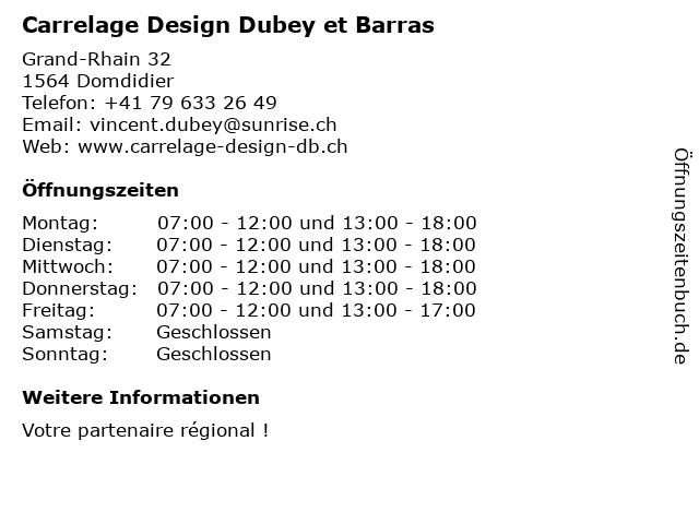 Carrelage Design Dubey et Barras in Domdidier: Adresse und Öffnungszeiten