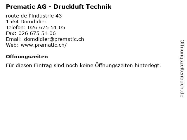 Prematic AG - Druckluft Technik in Domdidier: Adresse und Öffnungszeiten