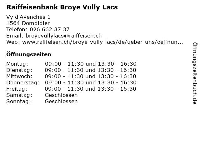Raiffeisenbank Broye Vully Lacs in Domdidier: Adresse und Öffnungszeiten