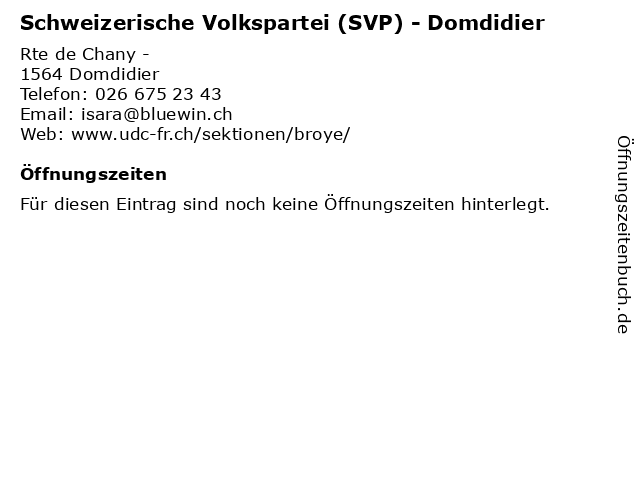 Schweizerische Volkspartei (SVP) - Domdidier in Domdidier: Adresse und Öffnungszeiten