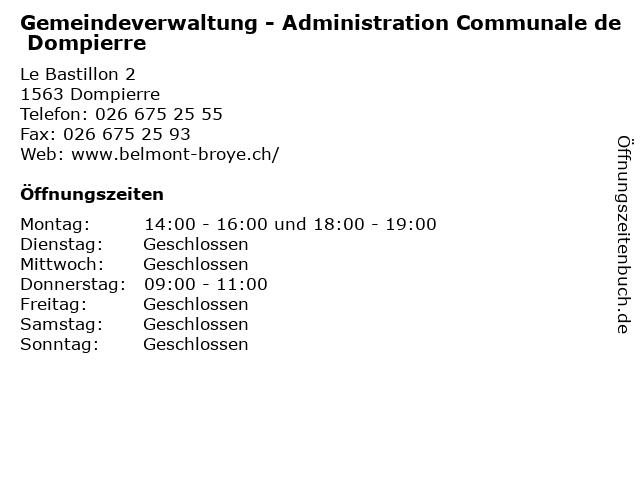 Gemeindeverwaltung - Administration Communale de Dompierre in Dompierre: Adresse und Öffnungszeiten