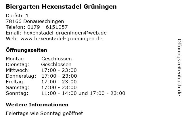 Biergarten Hexenstadel Grüningen in Donaueschingen: Adresse und Öffnungszeiten