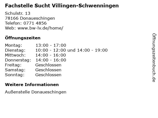 Fachstelle Sucht Villingen-Schwenningen in Donaueschingen: Adresse und Öffnungszeiten