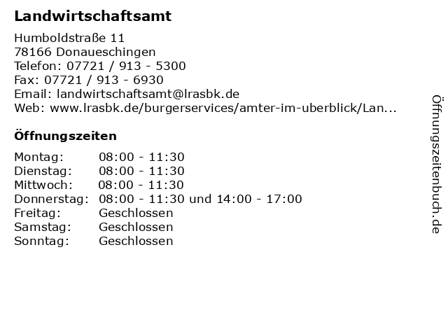 Landwirtschaftsamt in Donaueschingen: Adresse und Öffnungszeiten