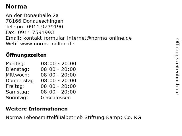 Norma in Donaueschingen: Adresse und Öffnungszeiten