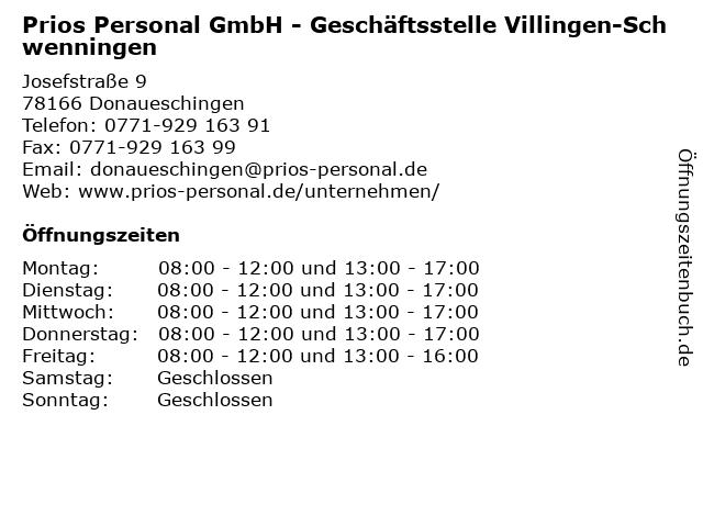 Prios Personal GmbH - Geschäftsstelle Villingen-Schwenningen in Donaueschingen: Adresse und Öffnungszeiten