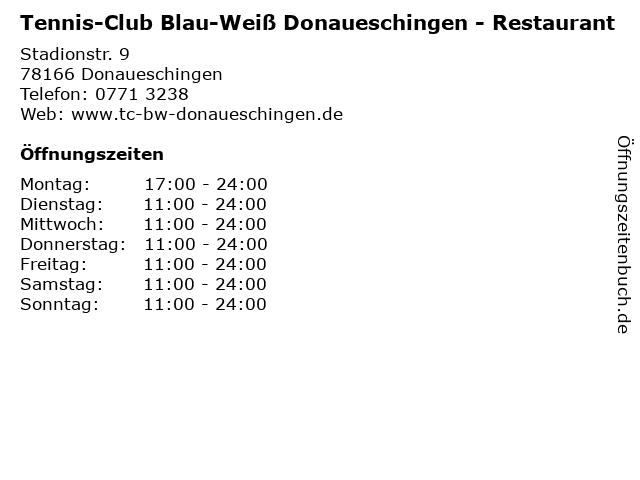 Tennis-Club Blau-Weiß Donaueschingen - Restaurant in Donaueschingen: Adresse und Öffnungszeiten