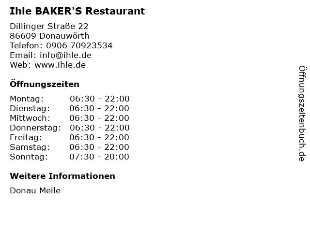 Ihle BAKER'S in Donauwörth: Adresse und Öffnungszeiten