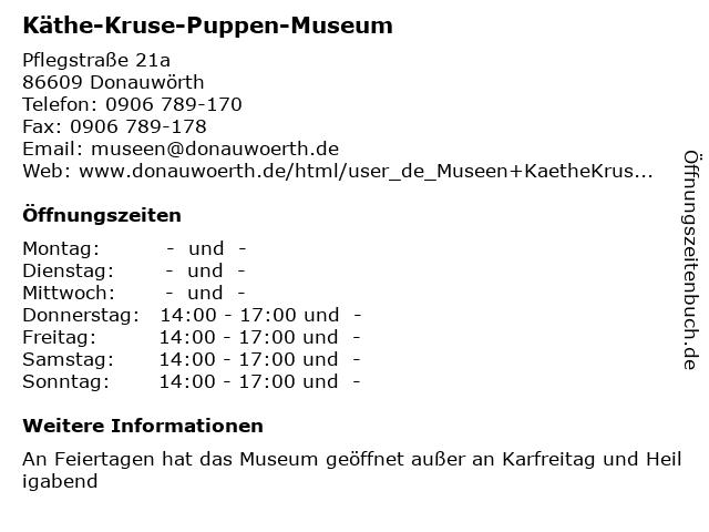 Käthe-Kruse-Puppen-Museum in Donauwörth: Adresse und Öffnungszeiten