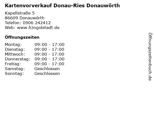 Kartenvorverkauf Donau-Ries Donauwörth in Donauwörth: Adresse und Öffnungszeiten