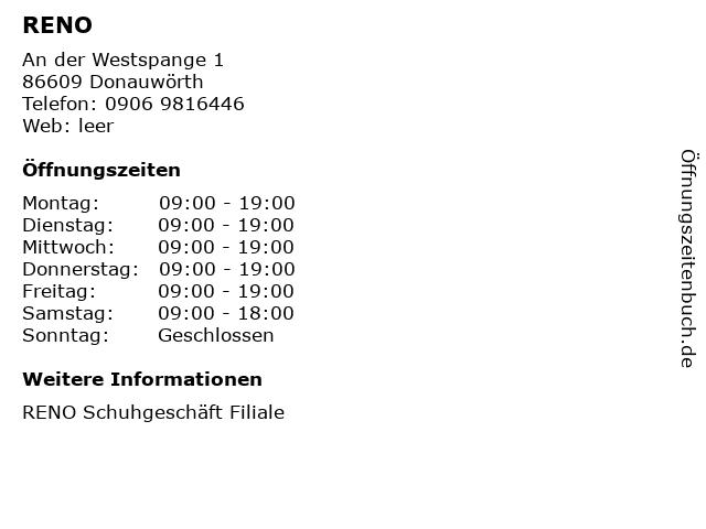 RENO in Donauwörth: Adresse und Öffnungszeiten