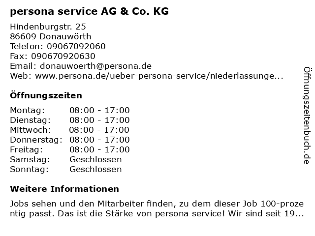 persona service AG & Co. KG in Donauwörth: Adresse und Öffnungszeiten
