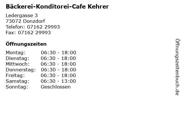 Bäckerei-Konditorei-Cafe Kehrer in Donzdorf: Adresse und Öffnungszeiten