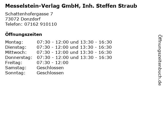 Messelstein-Verlag GmbH, Inh. Steffen Straub in Donzdorf: Adresse und Öffnungszeiten