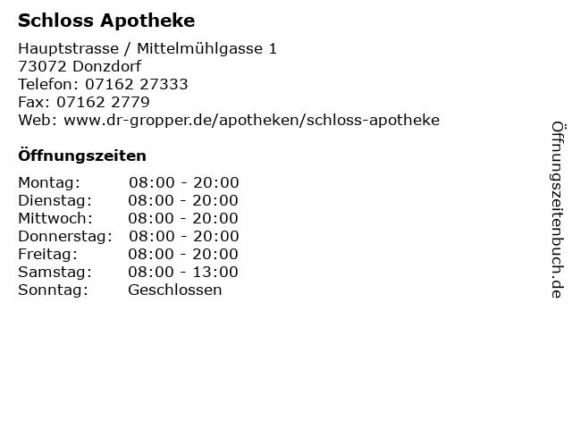 Schloss Apotheke in Donzdorf: Adresse und Öffnungszeiten