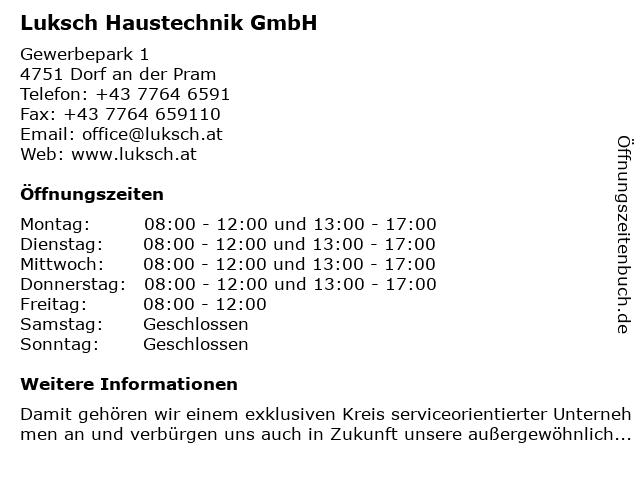 Luksch Haustechnik GmbH in Dorf an der Pram: Adresse und Öffnungszeiten