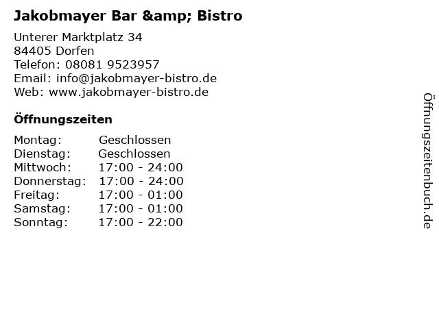 Jakobmayer Bar & Bistro in Dorfen: Adresse und Öffnungszeiten